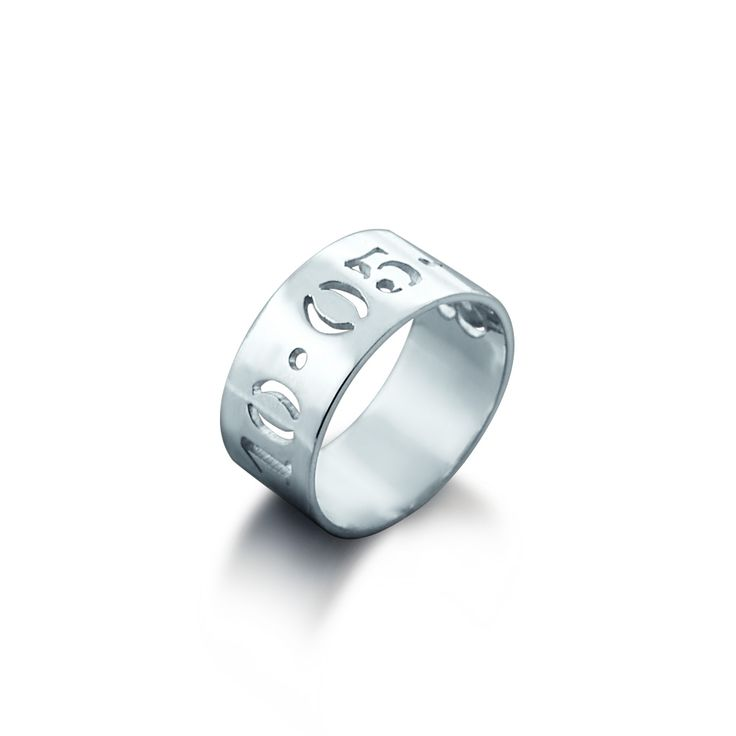 7mm Sterling Silver Cut Out Date Ring (available in sizes 6-9)