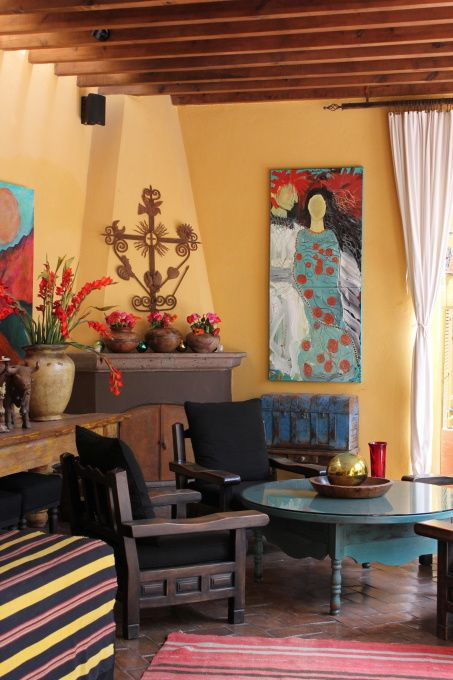 This Carole Meyer's (professional photographer and artist from Portland) second home in San Miguel de Allende, Mexico. The painting is her original.