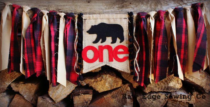 WOODLAND BEAR Highchair High Chair Birthday Banner Camping Fishing Hunting Deer Moose Lumberjack Banner Buffalo Plaid Cake Smash Photo Prop by RawEdgeSewingCo on Etsy https://www.etsy.com/listing/253730884/woodland-bear-highchair-high-chair