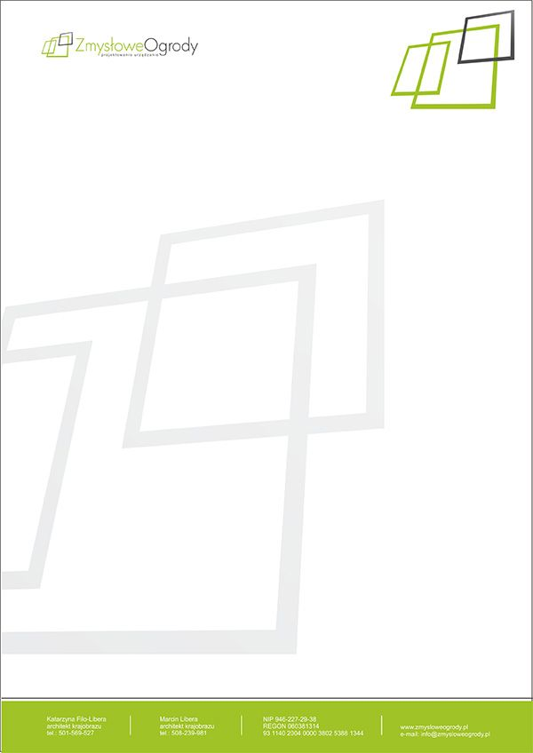 Zmysłowe ogrody - zmysłowy papier firmowy.