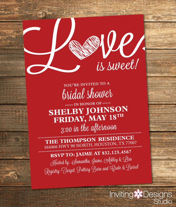 recipe themed bridal shower invitation wording%0A Bridal Shower Invitation  Love is Sweet  Heart  Red  White  Valentines