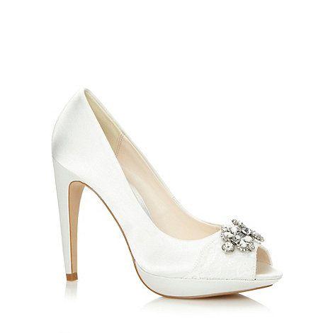 No. 1 Jenny Packham Designer ivory lace and jewel trim high court shoes- at Debenhams Mobile