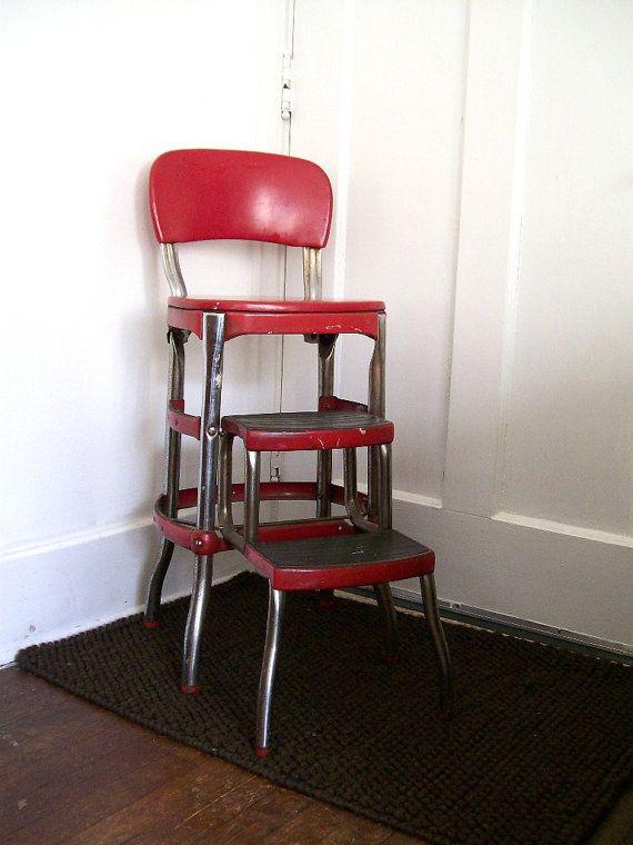 red step stool retro | vintage red kitchen step stool cosco furniture retro mid century ...