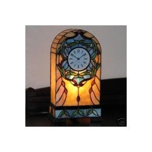Tiffany Style Stained Glass Accent Lamp Clock Paradise - eBay (item 120214167489 end time Jan-27-08 14:06:59 PST)