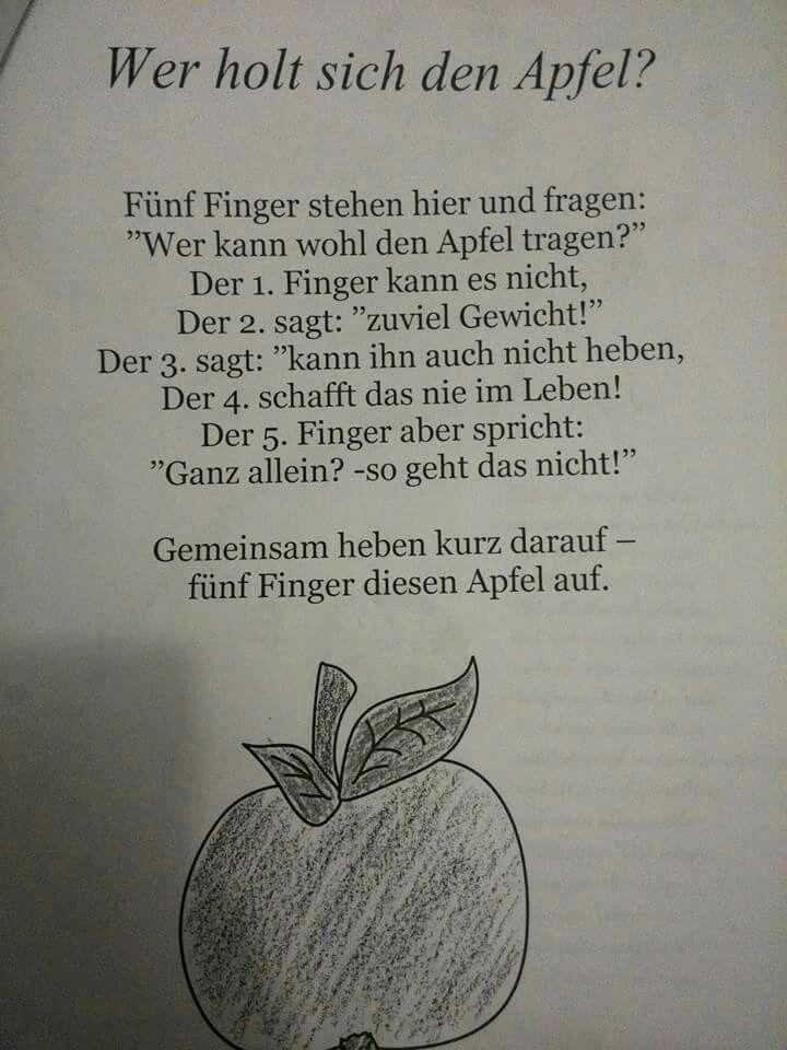 Fingerspiel zum Thema Apfel