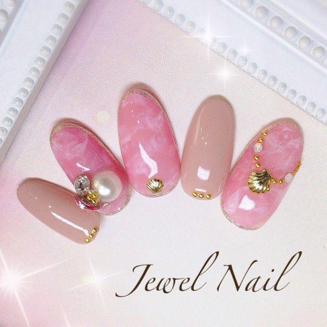上品ピンクネイル♪  #ジェルネイル#ジェル#ジュエルネイル#小手指#所沢#nail#大理石#ピンクネイル#夏ネイル#オフィスネイル#ネイルサロン