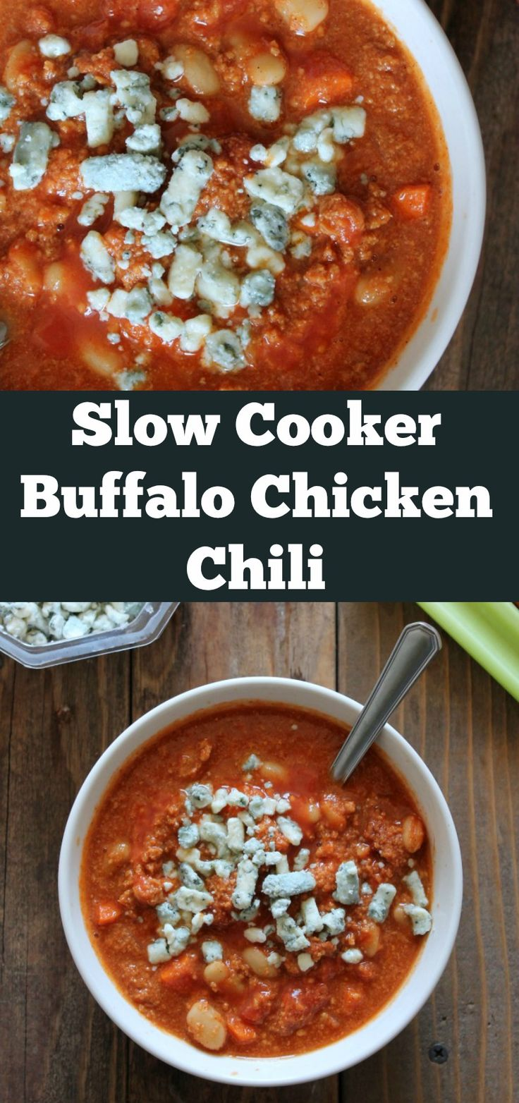 Slow Cooker Buffalo Chicken Chili. Healthy slow cooker chili recipe filled with chicken, beans, carrots, and celery for a delicious buffalo -style twist.