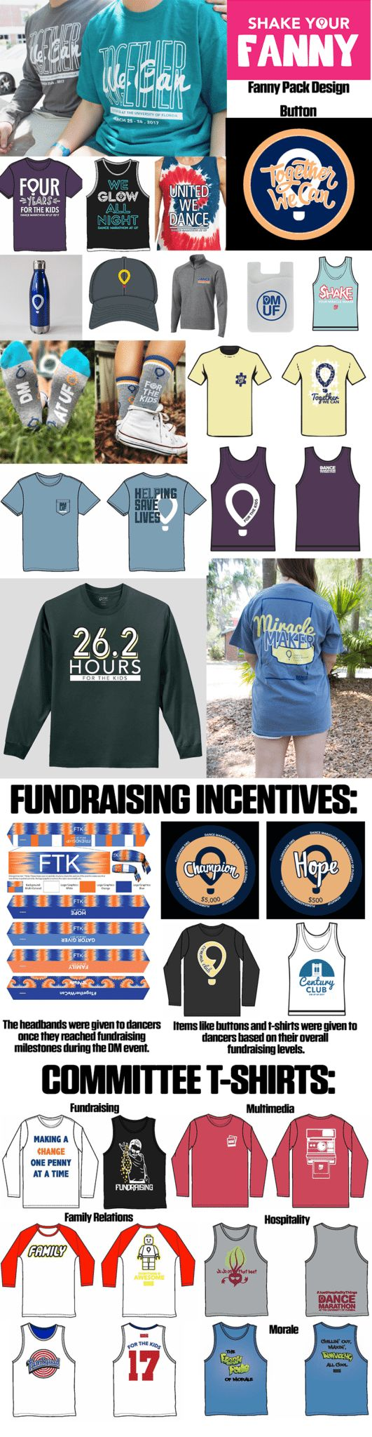 Miracle Network Dance Marathon programs often use merchandise to help spread awareness about their organization, recognize theirhospital and sponsors, and as mementos or incentives for dancers andsupporters.Merchandise can be any