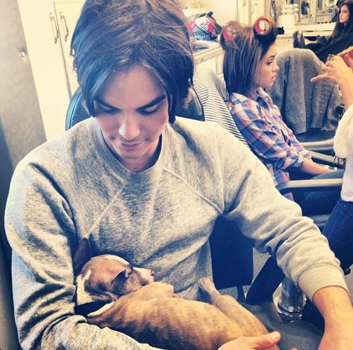 Tyler Blackburn with a puppy is my new weakness