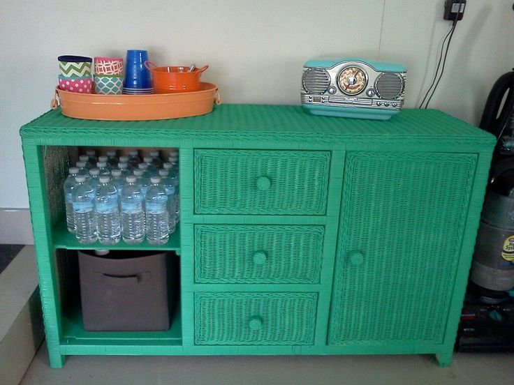 Love The Color For The Girls Repurposed Wicker Dresser . 2 Cans Of Spray  Paint.