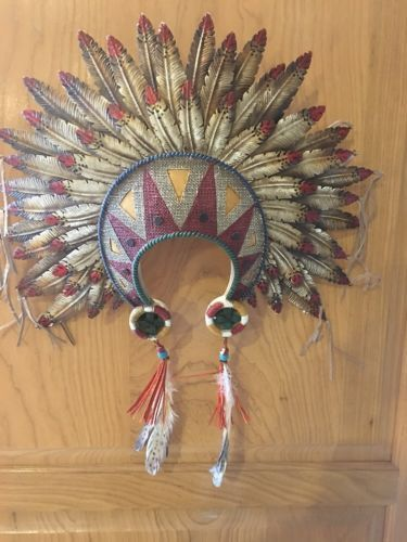Indian Head Dress Resin With Metal Feathers 19x22