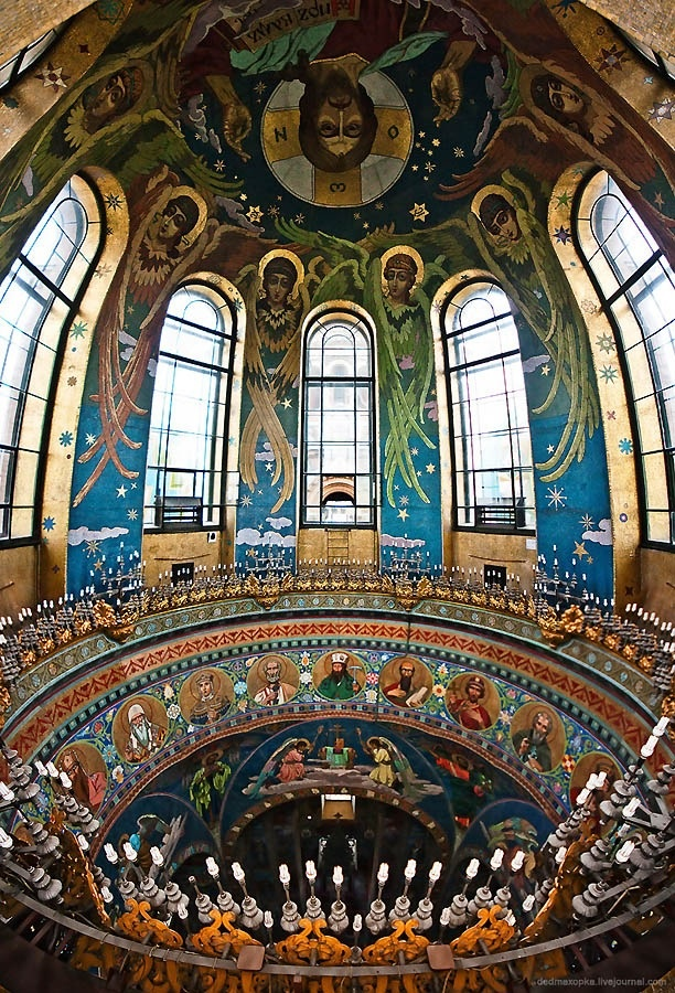 Inside The Church of the Savior on Spilled Blood, St. Petersburg, Russia. It is…