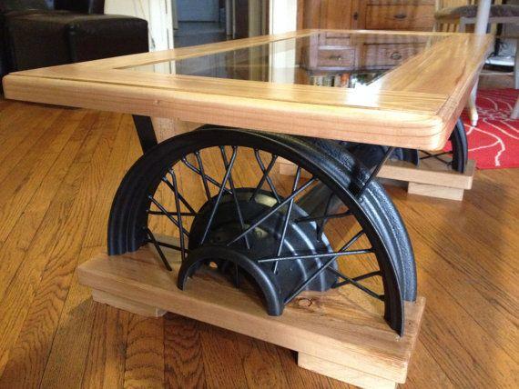 Antique Car Wheel Coffee Table By Farmshopfurniture On Etsy Build It Pinterest Car Wheels