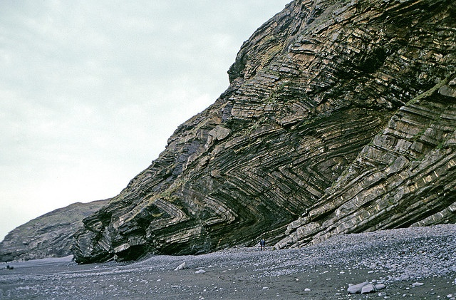 ZIG-ZAG FOLDS: Millook Haven, near Bude, North Cornwall. 'The rocks are part of the Upper Carboniferous age Crackington Formation. Thinly inter-bedded sandstones and shales, subsequently deformed into zig-zag folds with near horizontal fold axes as a result of the Variscan orogeny (mountain-building) at the end of the Carboniferous.' ✫ღ⊰n