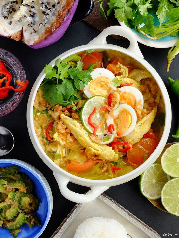 """食べるスープ☆ソトアヤム!【Soto ayam/鶏のスープ】 by 西井千里(ち~sun) / 手軽で美味しく日本人好みなインドネシア料理、ソトアヤム 。""""Soto""""はスープで""""Ayam""""は鶏!スーパーで買える食材でできるように仕上げました♪ちょっと材料は多いけど、作り方はとっても簡単。メインになれる、ヘルシー具沢山(^^) / Nadia"""