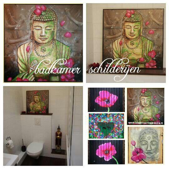 Badkamer accessoires, decoratie, schilderijen op hout geschilderd Www.creativeartbyjessica.nl