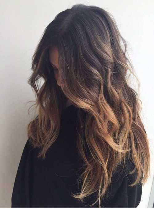 Long brown balayage hair Face framing pieces in large chunks with blurred edges
