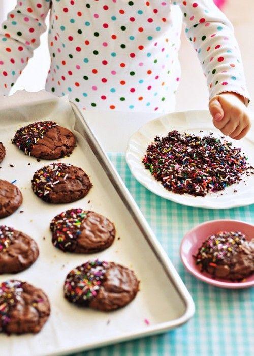 Brownies cookies with chocolate and sprinkles