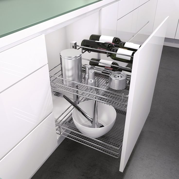 Base Liner with chromed wire baskets is a versatile pull out under bench storage system for base cabinets. Ideal for kitchens, but also laundries, playrooms, craft rooms or anywhere you need to get organised and have great access to contents. Soft close for quiet and easy use! Height adjustable storage baskets at second and third level. Available with Premea solid base baskets or Saphir chromed wire baskets (as shown), both for cabinets of 450mm or 600mm. Optional bottle holders also…