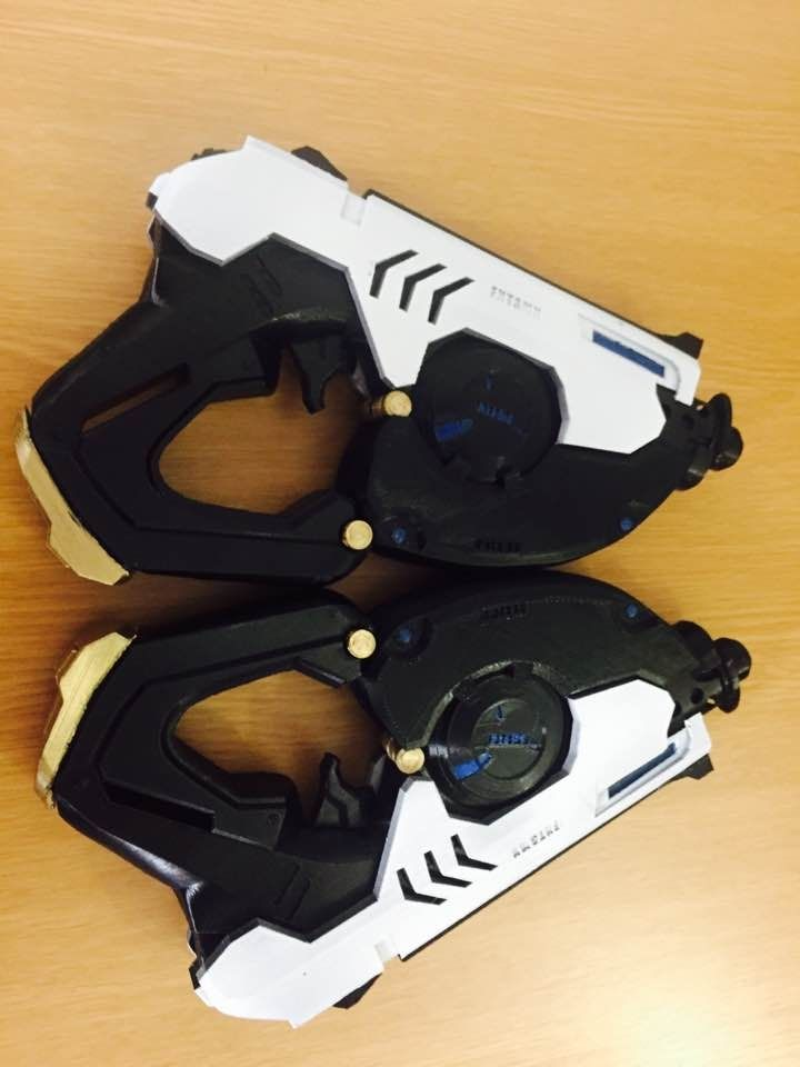 Hi! You are purchasing a 3d printed, already assembled Tracer's pistol from world well-known game Overwatch.    You are Buying 2Tracers Pistols for this Price!!!!    This pistol is 3d printed of PLA plastic, which is friendly to human, hand painted and varnished.  Has high detalisation, looks really cool. Could be a great item for cosplay, gift, collection and all fans of Overwatch.    Average time to make this gun is about 10-14 days.    Dimensions are: 24 cm length, 4 cm width and 14,5…