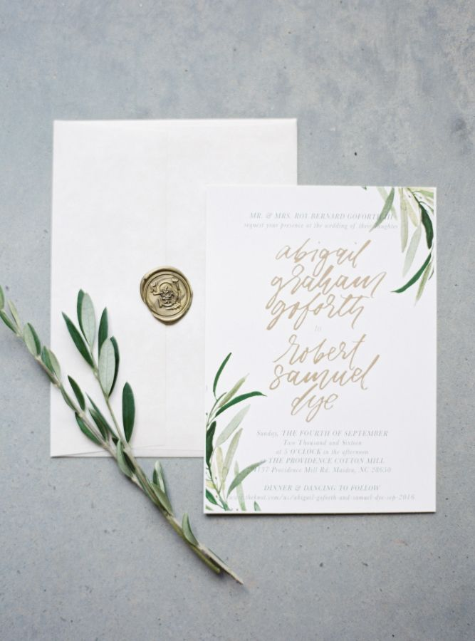 Olive branch imprinted wedding invitation: http://www.stylemepretty.com/2016/11/28/southern-brunch-wedding/ Photography: Jake and Heather - http://jakeandheatherphoto.com/