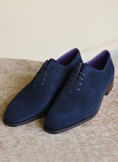 Men Navy blue suede leather derby shoes Mens formal shoes Mens dress shoes - Dress/Formal