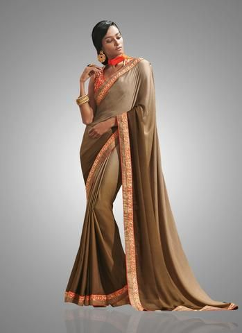 Light Brown Crepe Chiffon Online Shopping In India Sarees ,Indian Dresses