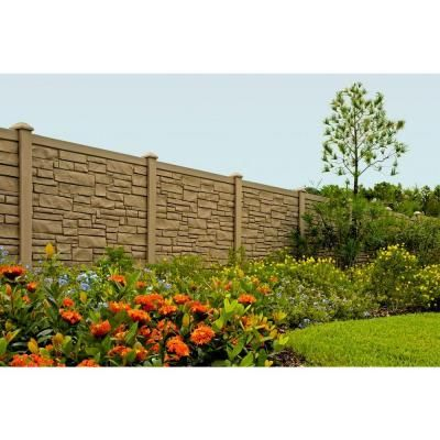SimTek 6 ft. H x 6 ft. W EcoStone Brown Composite Fence Panel-FP72X72EBRN - The Home Depot