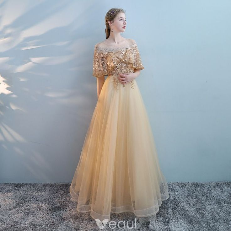 charmant gold durchsichtige ballkleider 2018 eine linie