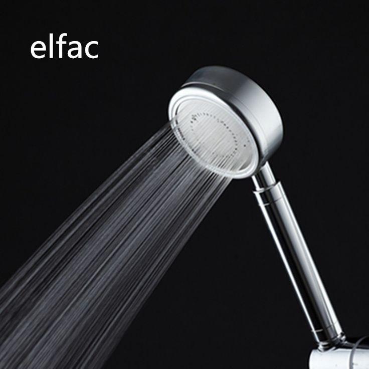 ELFAC Shower Head Bathroom Space Sluminum High Pressure Boost Water Saving Shower Head ABS Panel Chrome Round Single Silver