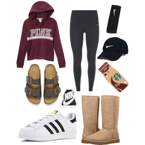 basic white girl starter pack by cindylu1204 on Polyvore featuring NIKE, UGG, adidas, Birkenstock, Nike Golf, men's fashion and menswear