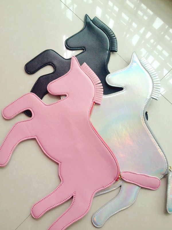 Free shipping unicorn designer laser silver horse clutch Bag HARAJUKU unicorn woman handbag horse bag-in Clutches from Luggage & Bags on Ali...