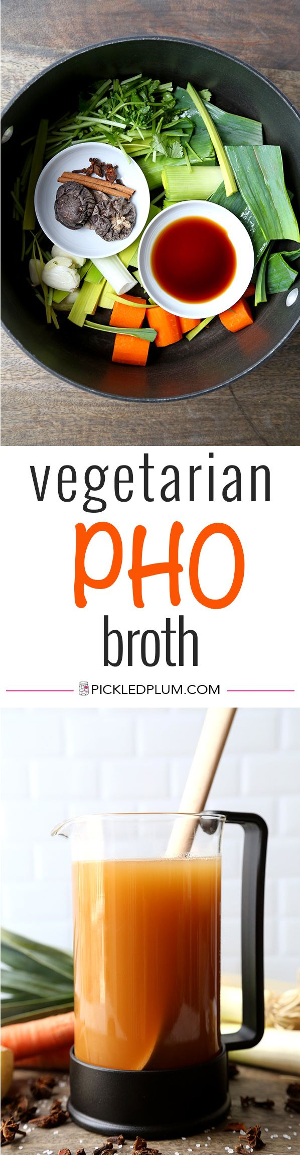Vegetarian Pho Broth - This is a mild yet fragrant vegetable pho broth recipe. Who says you need meat to make everything better? This vegetable pho broth proves that veggies done well can taste spectacular! Recipe, vegan, broth, soup, noodle soup   pickledplum.com