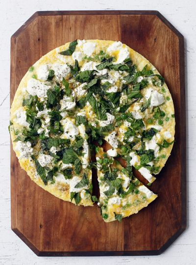 Spring Pea Frittata with Goat Cheese andMint