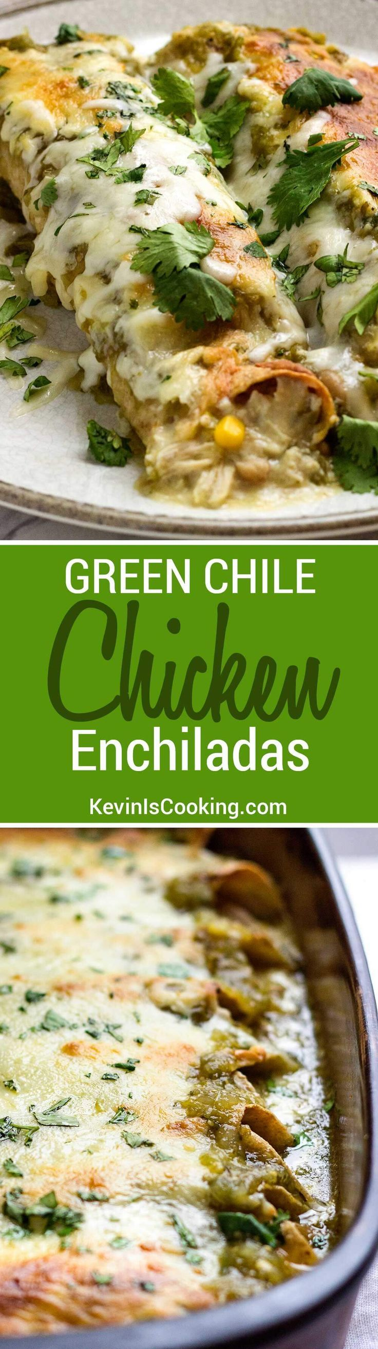 These Green Chile Chicken Enchiladas use shredded rotisserie chicken, white beans, corn and plenty of Pepper Jack cheese then are smothered in a green salsa verde. Super easy to put together and are great to freeze for later. via @KevinIsCooking