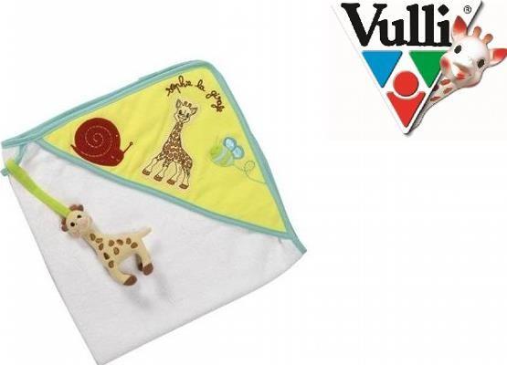 Żyrafa Sophie Ręcznik do kąpieli - Bawełniany ręcznik kąpielowy z kapturem z pluszową żyrafą Sophie do zabawy dla Dziecka gdy jest wycierane.
