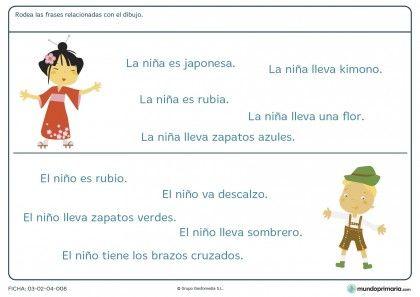 Ficha de relacionar frases con dibujos para primaria
