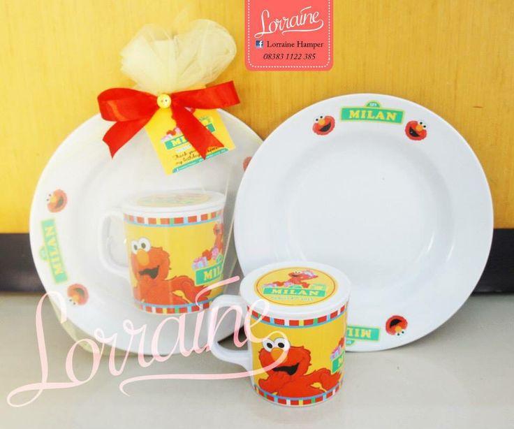 Elmo theme - melamine mug and plate for birthday souvenir
