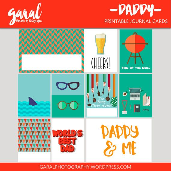 DADDY Journal Cards 10 pack 3x4 and 4x6 printable by marcegaral