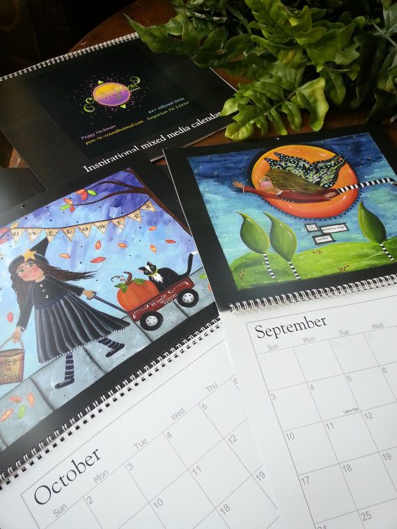 I am so excited to offer this **2017 INSPIRATIONAL MIXED MEDIA CALENDAR**  Your calendar will come packaged in a crystal clear sleeve, I will also include an artist statement and my inspiration for this calendar! The size is 11 X 14 and the weight of the paper is simply perfect and has a satin finish. All of the original art was painted on heavy weight watercolor paper. I start by adding paint and gesso to the background using my fingers and brush to blend the colors together. At this point…