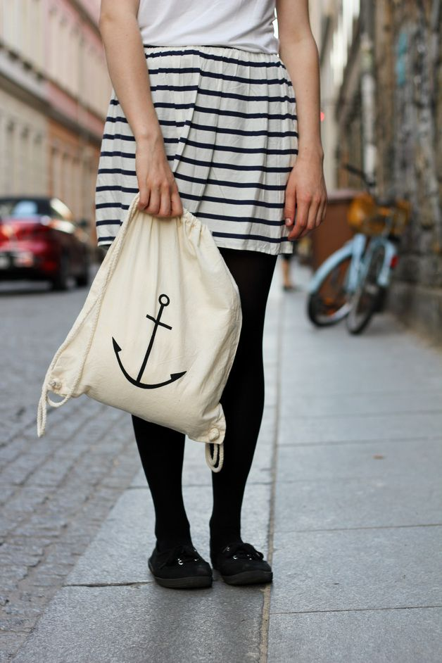 Hipster Turnbeutel mit Ankerprint / hipster tote bag, anchor print by Blossom Out via DaWanda.com