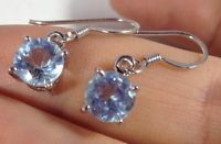 Blue Topaz Round Drop Earrings Solid Sterling Silver, New, Actual Ones