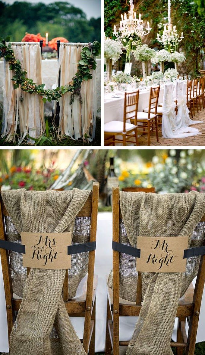 5 Head Table Wedding Decoration Ideas - Set the bride and groom apart by dressing up their chairs with decorative chair backs.  This will put the focus on the newlyweds and add a personal touch to the reception decor.  #mwri #wedding #WeddingDecorations #chairbacks