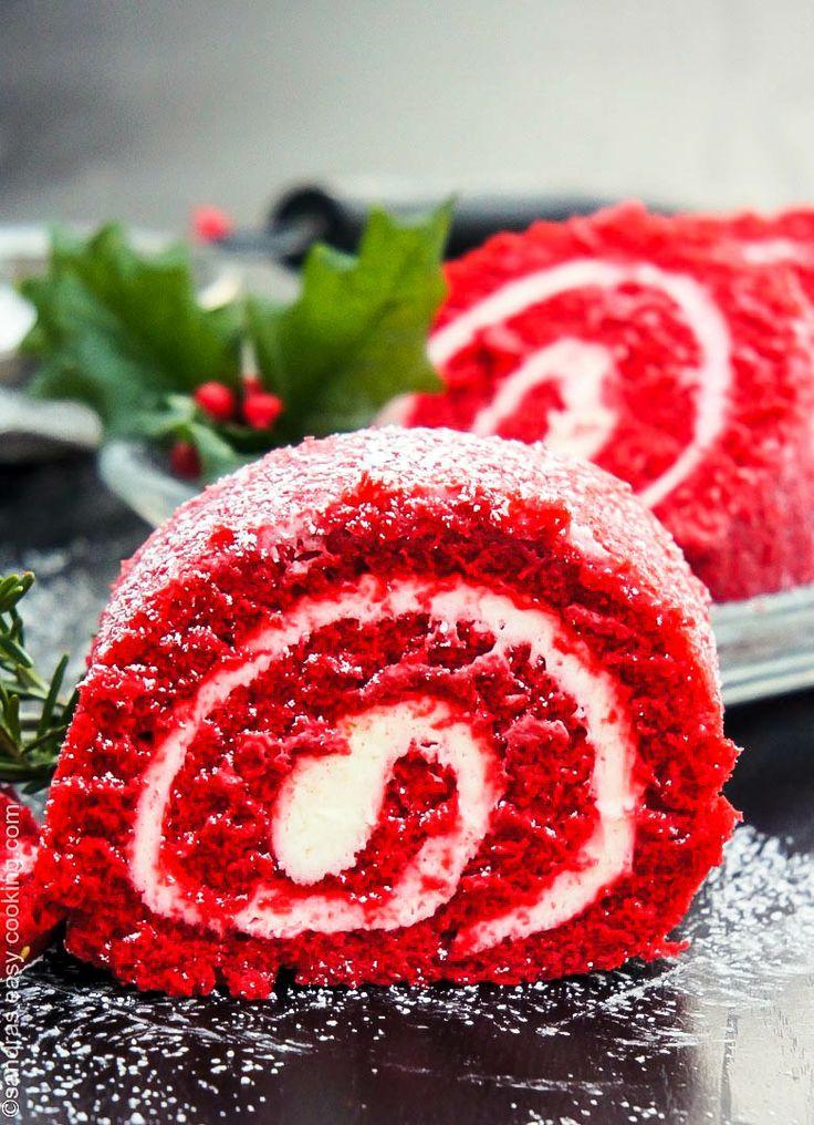 Red Velvet Cake Roll @SECooking | Sandra | Sandra | Sandra | Sandra