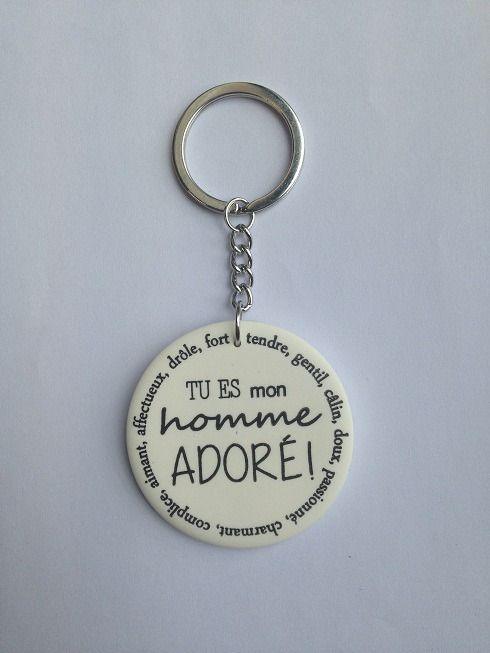 """saint valentin Mari Porte clefs """" tu es mon homme adoré"""" : Porte clés par au-fil-des-songes"""