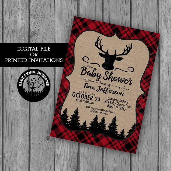 Red Plaid Boy baby shower invitation, lumberjack, camping, deer, buck, buffalo plaid, camping, outdors, coed, antler, woods, printable, DIY