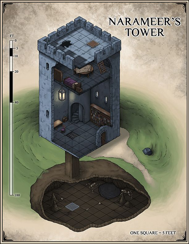 Narameer's Tower, now abandoned and looming over the southern end of the Shrouded Encampment.