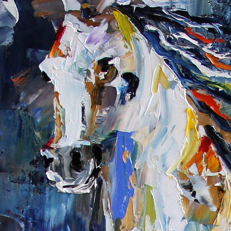 """White Wind Horse Painting by Texas Artist @Laurie Pace : From Laurie, """"White Wind Horse painting was just varnished in my Texas studio.  This painting has a history which is always fun to share. It started out as a different painting…with layers of paint and carving with a knife.  NO different than our lives when we take off in one direction and realize we need to go another. Every human is affected in their lifetime by their experiences. They make us who we are today."""""""