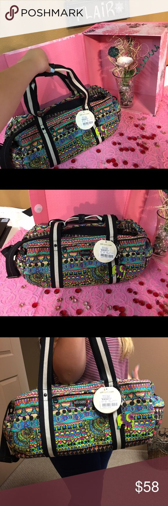Skaroots duffle bag Sakroots large duffle bag multi bright neon colors with an elephant keychain NWT super adorable!! Sakroots Bags Travel Bags