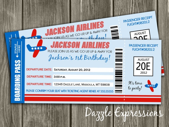 25 best boarding pass invitation images on Pinterest Boarding - airplane ticket invitations